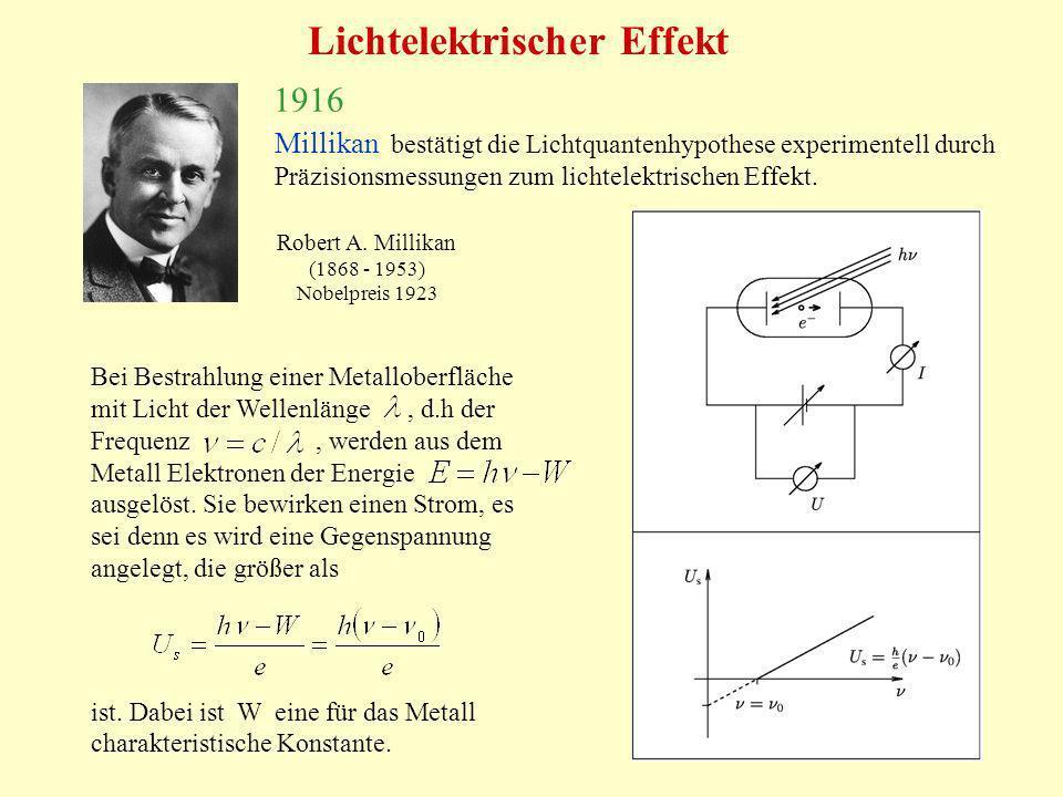 17 1916 Millikan bestätigt die Lichtquantenhypothese experimentell durch Präzisionsmessungen zum lichtelektrischen Effekt. Robert A. Millikan (1868 -
