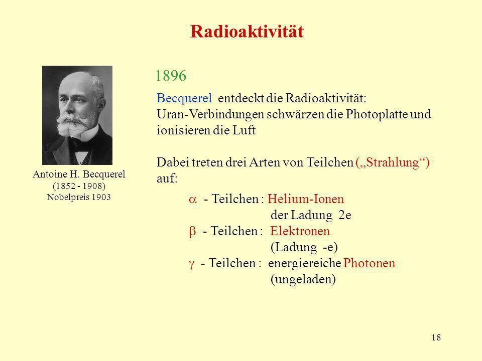 18 Radioaktivität Antoine H. Becquerel (1852 - 1908) Nobelpreis 1903 1896 Becquerel entdeckt die Radioaktivität: Uran-Verbindungen schwärzen die Photo