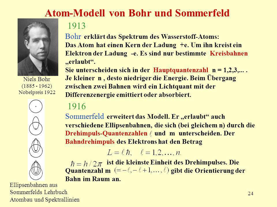 24 Atom-Modell von Bohr und Sommerfeld Niels Bohr (1885 - 1962) Nobelpreis 1922 1913 Bohr erklärt das Spektrum des Wasserstoff-Atoms: Das Atom hat einen Kern der Ladung +e.