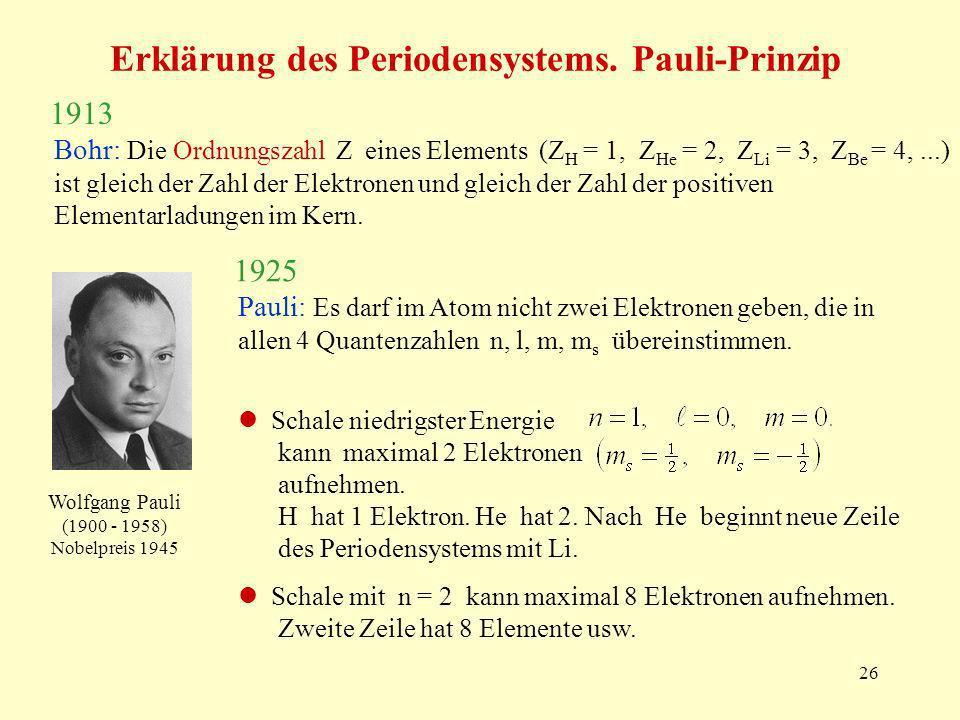 26 Erklärung des Periodensystems. Pauli-Prinzip Bohr: Die Ordnungszahl Z eines Elements (Z H = 1, Z He = 2, Z Li = 3, Z Be = 4,...) ist gleich der Zah