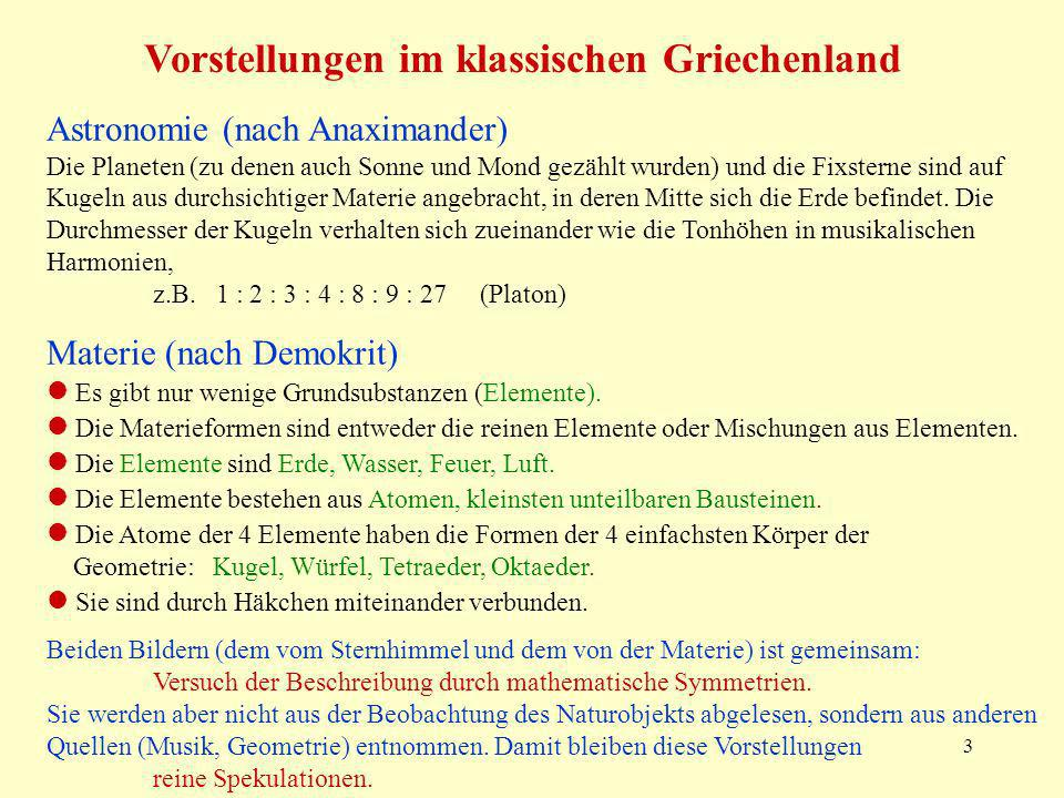 3 Astronomie (nach Anaximander) Die Planeten (zu denen auch Sonne und Mond gezählt wurden) und die Fixsterne sind auf Kugeln aus durchsichtiger Materi