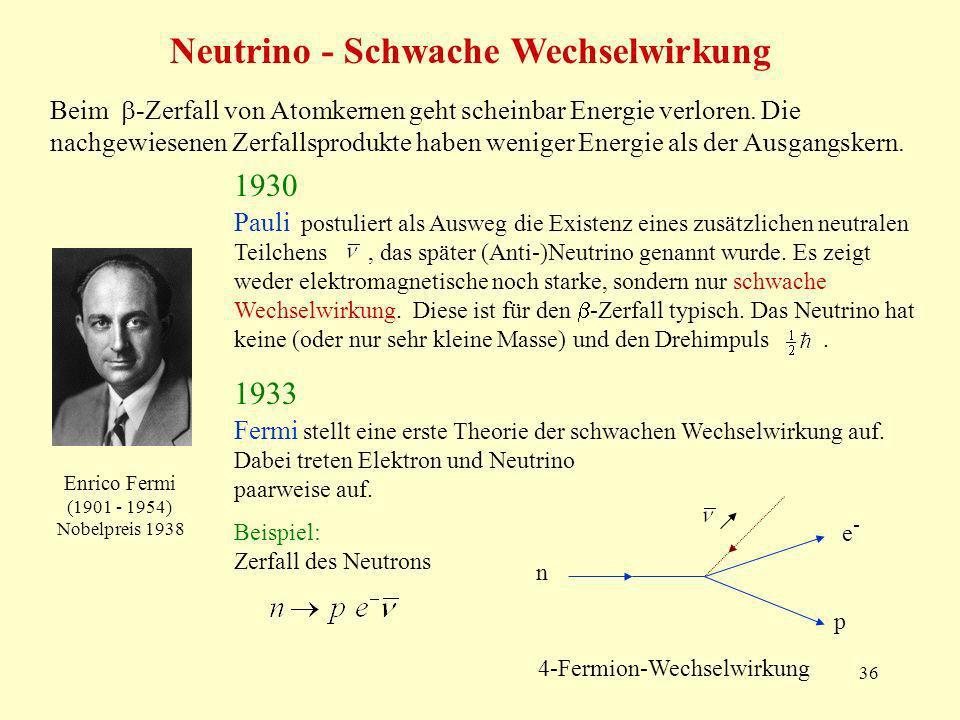 36 Neutrino - Schwache Wechselwirkung Pauli postuliert als Ausweg die Existenz eines zusätzlichen neutralen Teilchens, das später (Anti-)Neutrino genannt wurde.