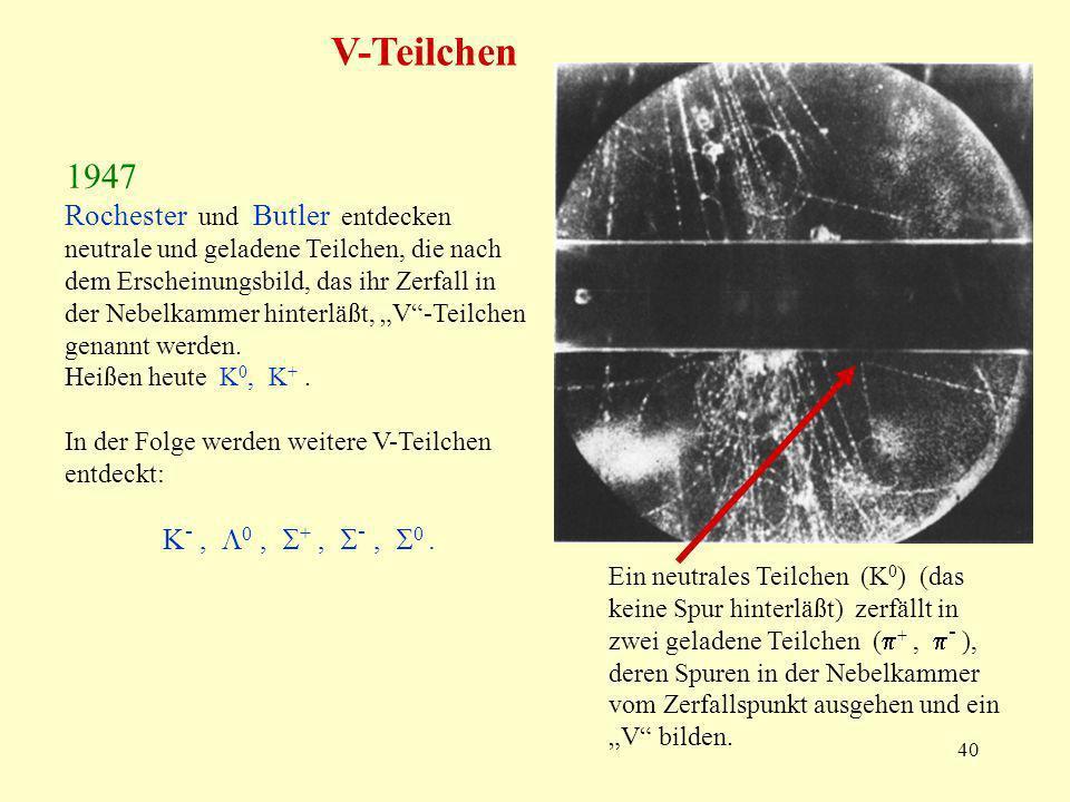 40 V-Teilchen Rochester und Butler entdecken neutrale und geladene Teilchen, die nach dem Erscheinungsbild, das ihr Zerfall in der Nebelkammer hinterläßt, V-Teilchen genannt werden.