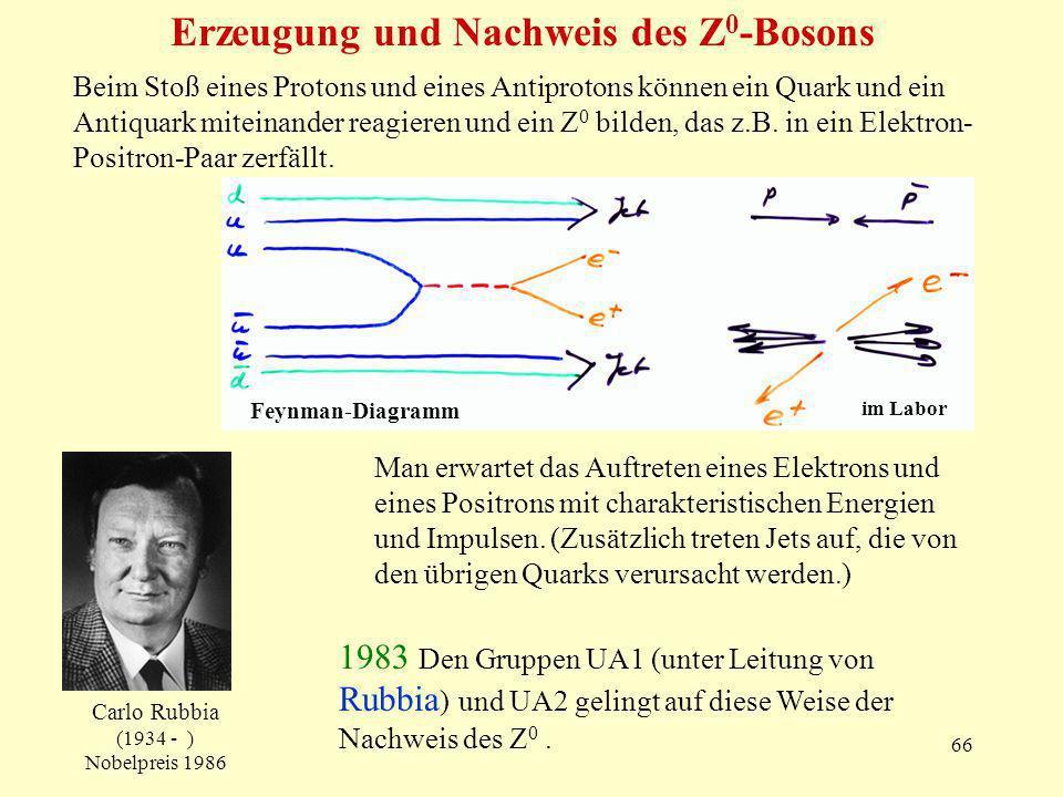 66 Erzeugung und Nachweis des Z 0 -Bosons Carlo Rubbia (1934 - ) Nobelpreis 1986 Beim Stoß eines Protons und eines Antiprotons können ein Quark und ein Antiquark miteinander reagieren und ein Z 0 bilden, das z.B.