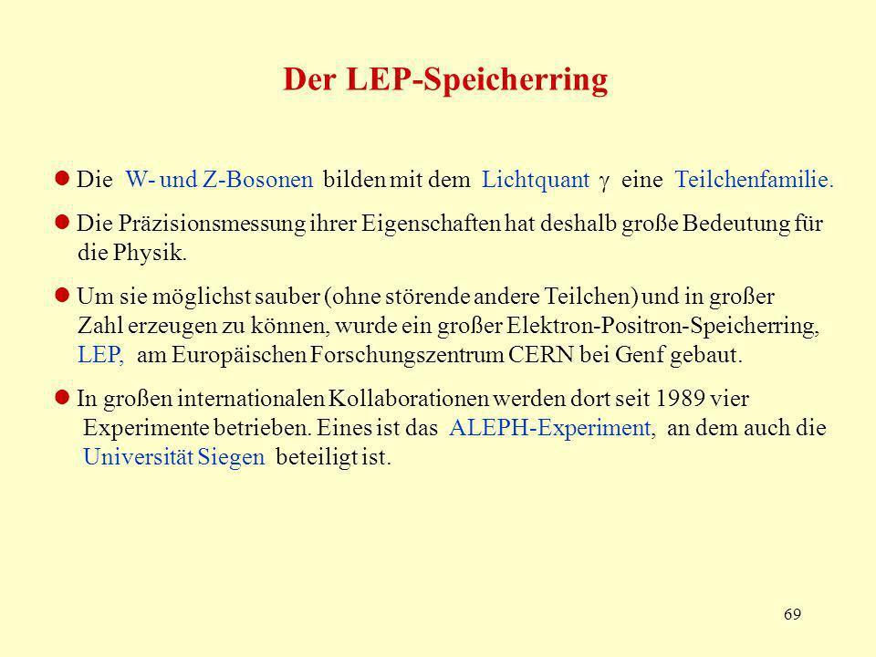 69 Der LEP-Speicherring Die W- und Z-Bosonen bilden mit dem Lichtquant eine Teilchenfamilie. Die Präzisionsmessung ihrer Eigenschaften hat deshalb gro