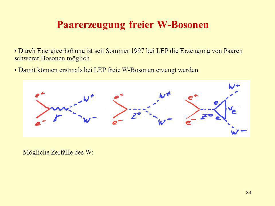 84 Paarerzeugung freier W-Bosonen Durch Energieerhöhung ist seit Sommer 1997 bei LEP die Erzeugung von Paaren schwerer Bosonen möglich Damit können erstmals bei LEP freie W-Bosonen erzeugt werden Mögliche Zerfälle des W: