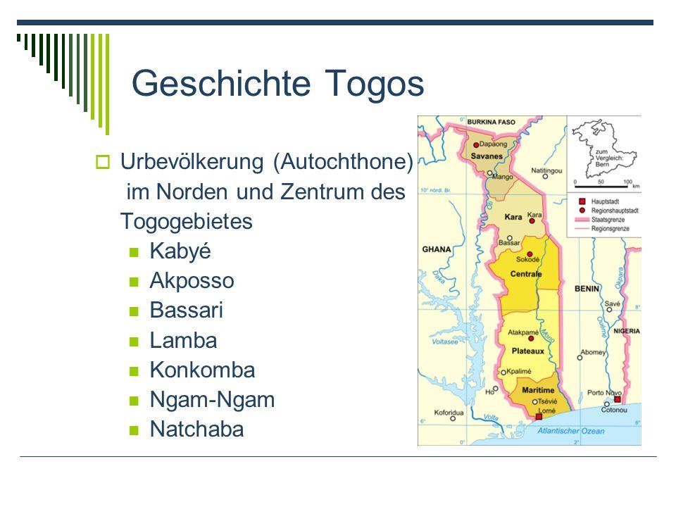Geschichte Togos Urbevölkerung (Autochthone) im Norden und Zentrum des Togogebietes Kabyé Akposso Bassari Lamba Konkomba Ngam-Ngam Natchaba