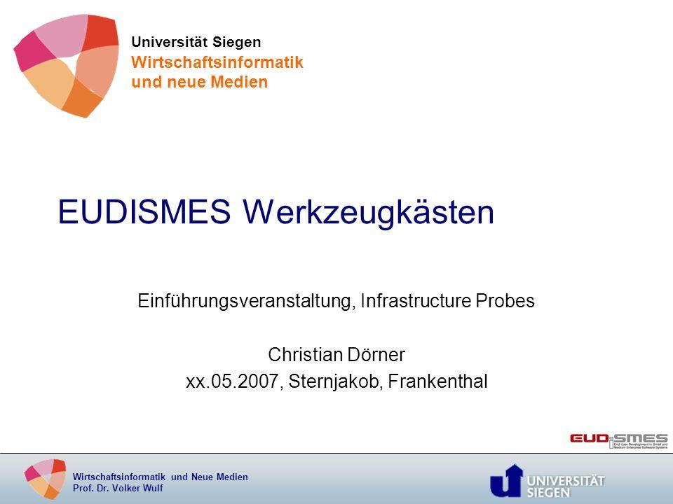 Wirtschaftsinformatik und Neue Medien Prof. Dr. Volker Wulf EUDISMES Werkzeugkästen Einführungsveranstaltung, Infrastructure Probes Christian Dörner x