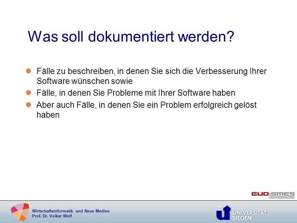 Wirtschaftsinformatik und Neue Medien Prof. Dr. Volker Wulf Was soll dokumentiert werden? lFälle zu beschreiben, in denen Sie sich die Verbesserung Ih