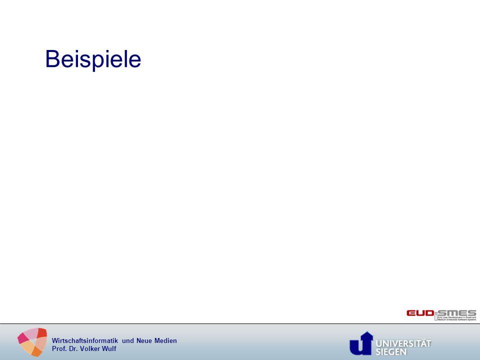Wirtschaftsinformatik und Neue Medien Prof. Dr. Volker Wulf Beispiele