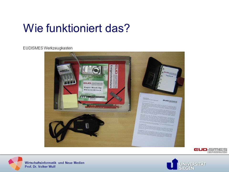 Wirtschaftsinformatik und Neue Medien Prof. Dr. Volker Wulf Wie funktioniert das? EUDISMES Werkzeugkasten
