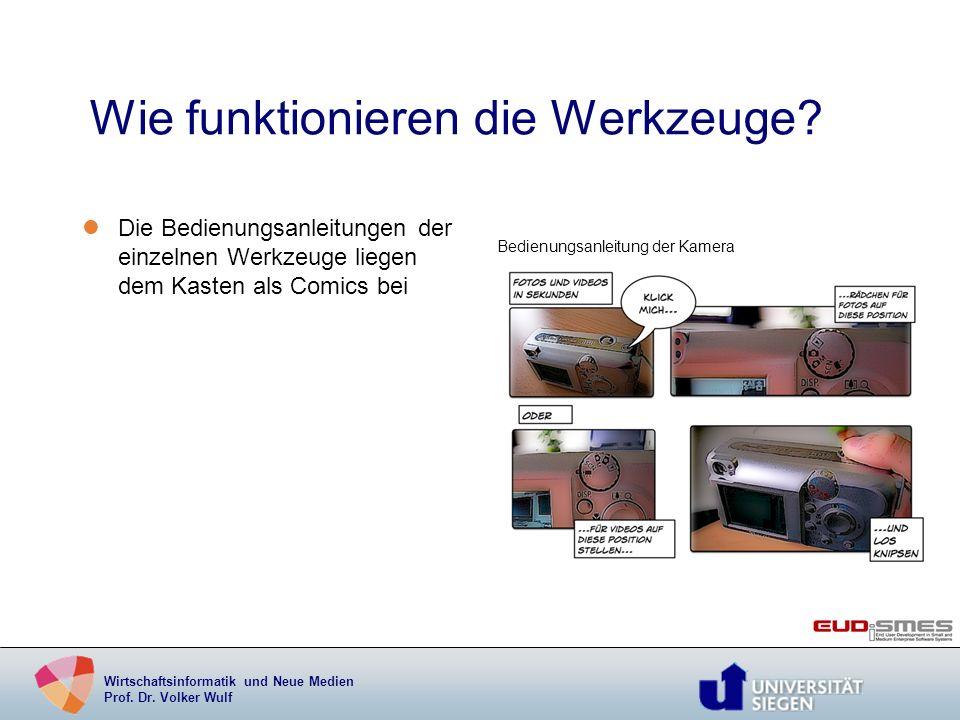 Wirtschaftsinformatik und Neue Medien Prof. Dr. Volker Wulf Wie funktionieren die Werkzeuge? lDie Bedienungsanleitungen der einzelnen Werkzeuge liegen