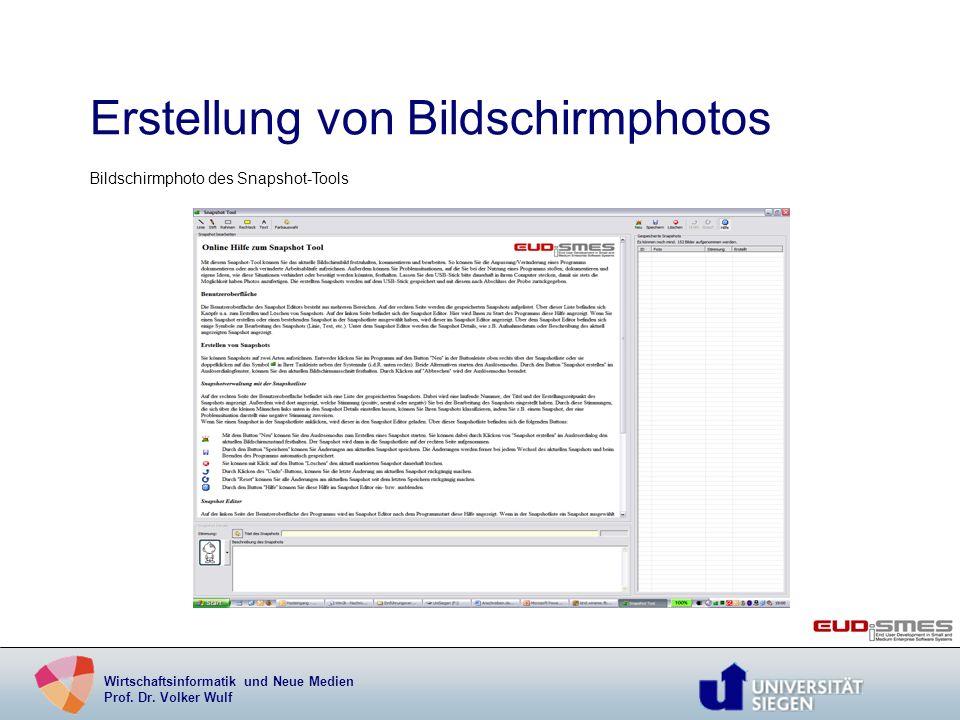 Wirtschaftsinformatik und Neue Medien Prof. Dr. Volker Wulf Erstellung von Bildschirmphotos Bildschirmphoto des Snapshot-Tools