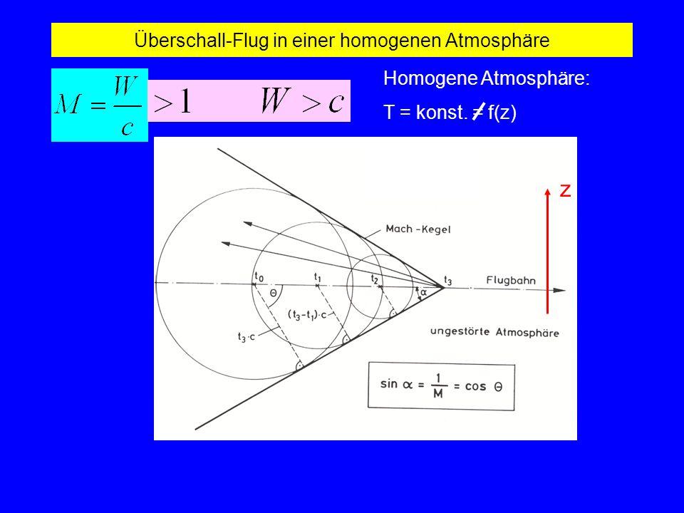 Überschall-Flug in einer homogenen Atmosphäre Homogene Atmosphäre: T = konst. = f(z) z