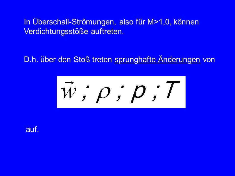In Überschall-Strömungen, also für M>1,0, können Verdichtungsstöße auftreten. D.h. über den Stoß treten sprunghafte Änderungen von auf.