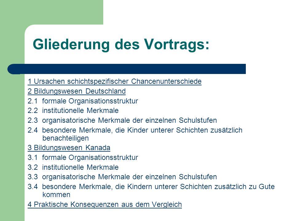Organisatorische Merkmale der verschiedenen Schulstufen in Kanada: Kindergarten: kostenfrei; z.T.