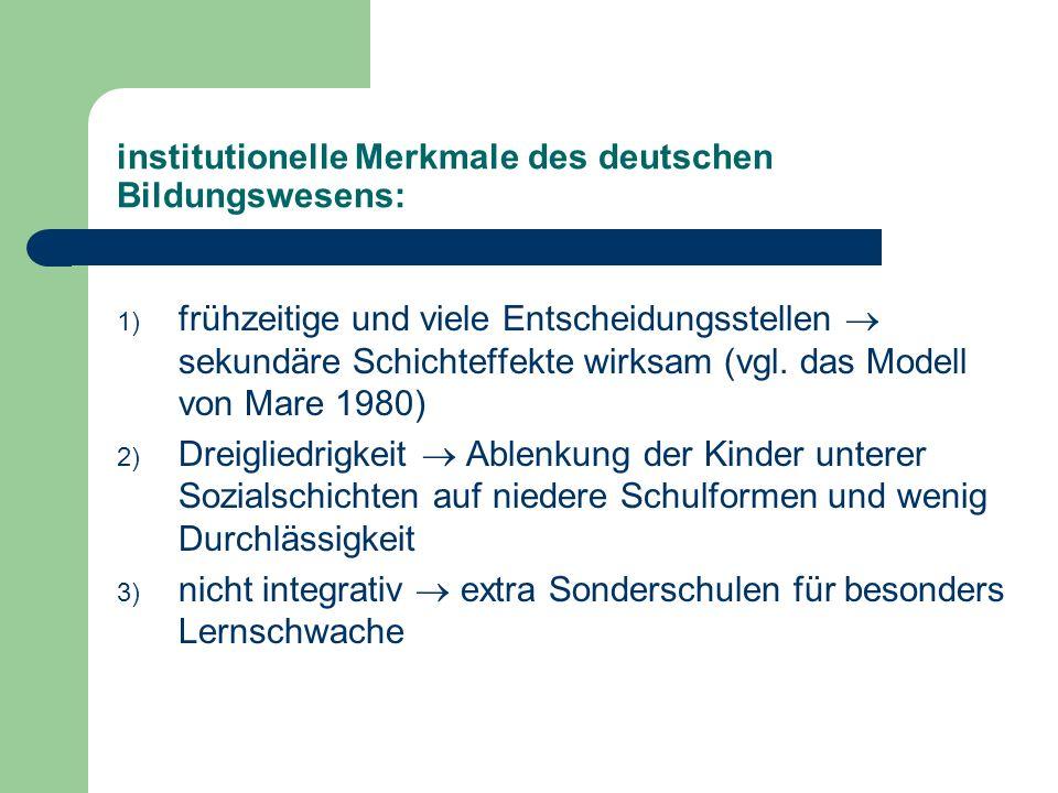 institutionelle Merkmale des deutschen Bildungswesens: 1) frühzeitige und viele Entscheidungsstellen sekundäre Schichteffekte wirksam (vgl. das Modell