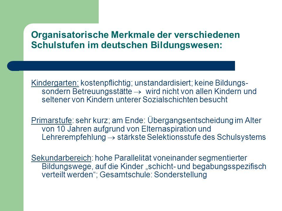 Organisatorische Merkmale der verschiedenen Schulstufen im deutschen Bildungswesen: Kindergarten: kostenpflichtig; unstandardisiert; keine Bildungs- s