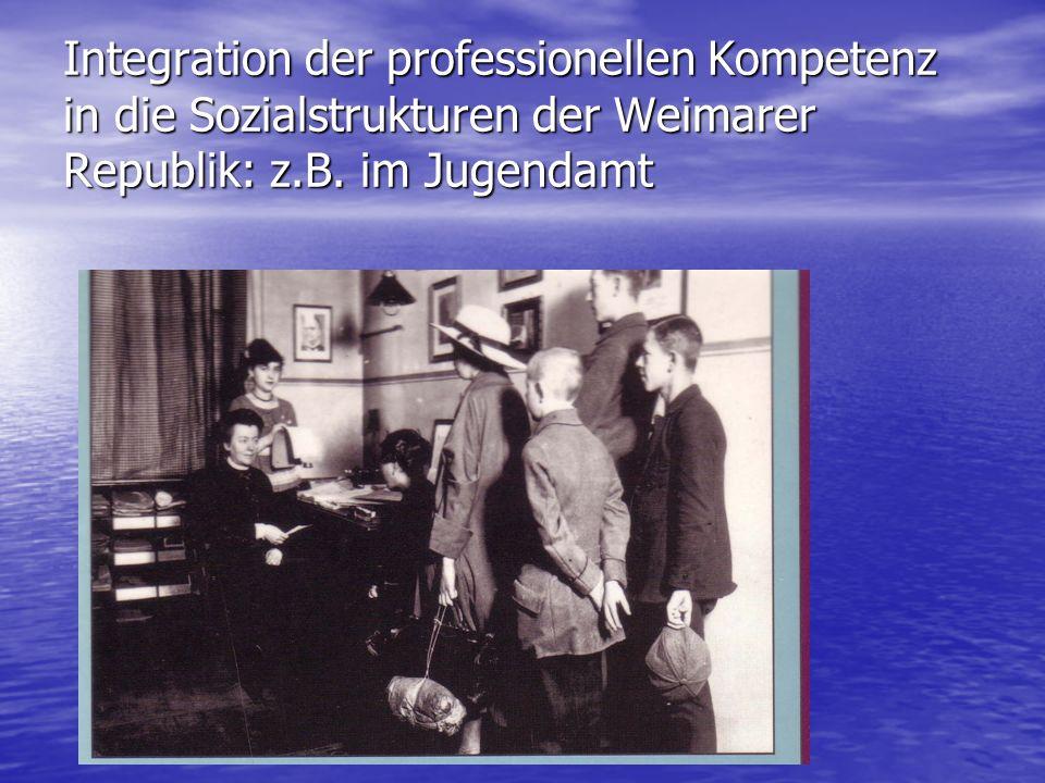 Integration der professionellen Kompetenz in die Sozialstrukturen der Weimarer Republik: z.B. im Jugendamt