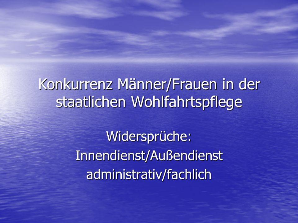 Konkurrenz Männer/Frauen in der staatlichen Wohlfahrtspflege Widersprüche:Innendienst/Außendienstadministrativ/fachlich