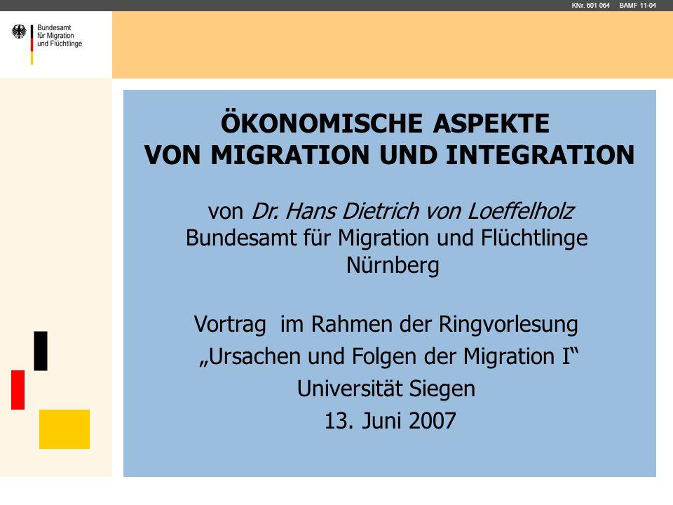 ÖKONOMISCHE ASPEKTE VON MIGRATION UND INTEGRATION von Dr. Hans Dietrich von Loeffelholz Bundesamt für Migration und Flüchtlinge Nürnberg Vortrag im Ra