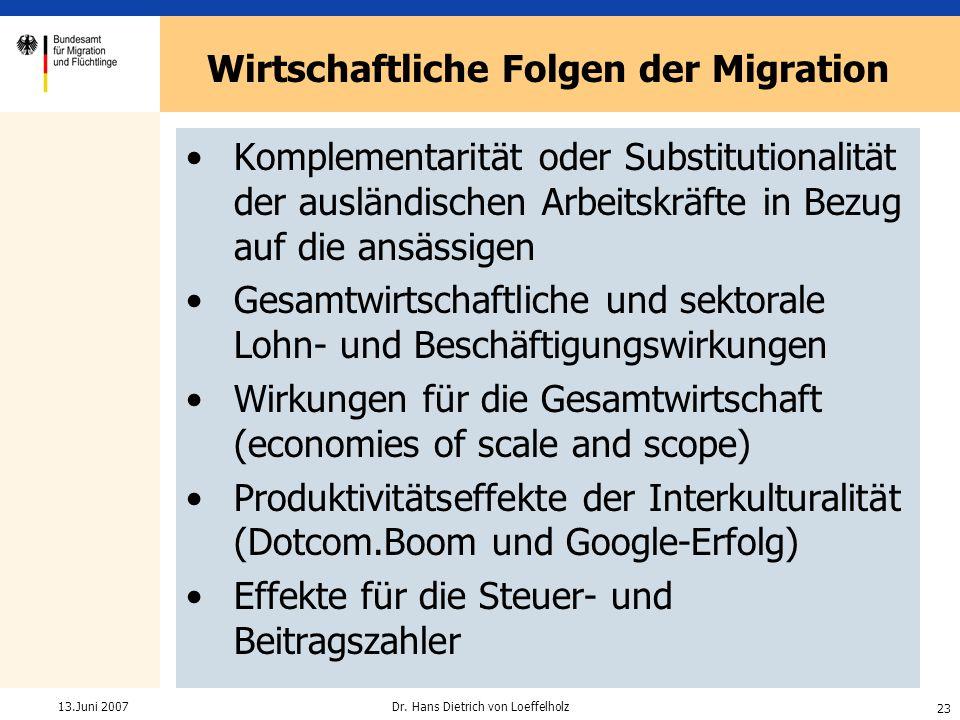 23 Dr. Hans Dietrich von Loeffelholz13.Juni 2007 Wirtschaftliche Folgen der Migration Komplementarität oder Substitutionalität der ausländischen Arbei