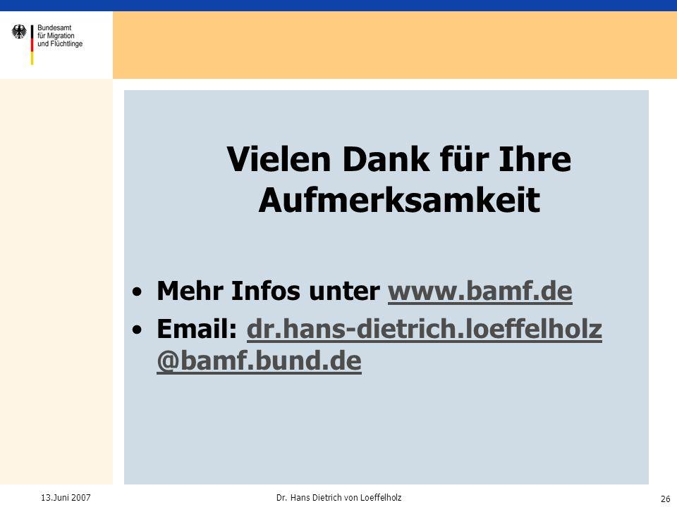 26 Dr. Hans Dietrich von Loeffelholz13.Juni 2007 Vielen Dank für Ihre Aufmerksamkeit Mehr Infos unter www.bamf.dewww.bamf.de Email: dr.hans-dietrich.l