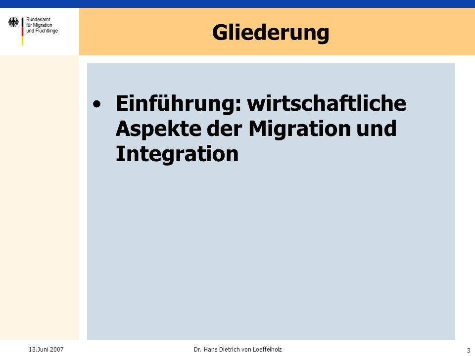 3 Dr. Hans Dietrich von Loeffelholz13.Juni 2007 Einführung: wirtschaftliche Aspekte der Migration und Integration Gliederung