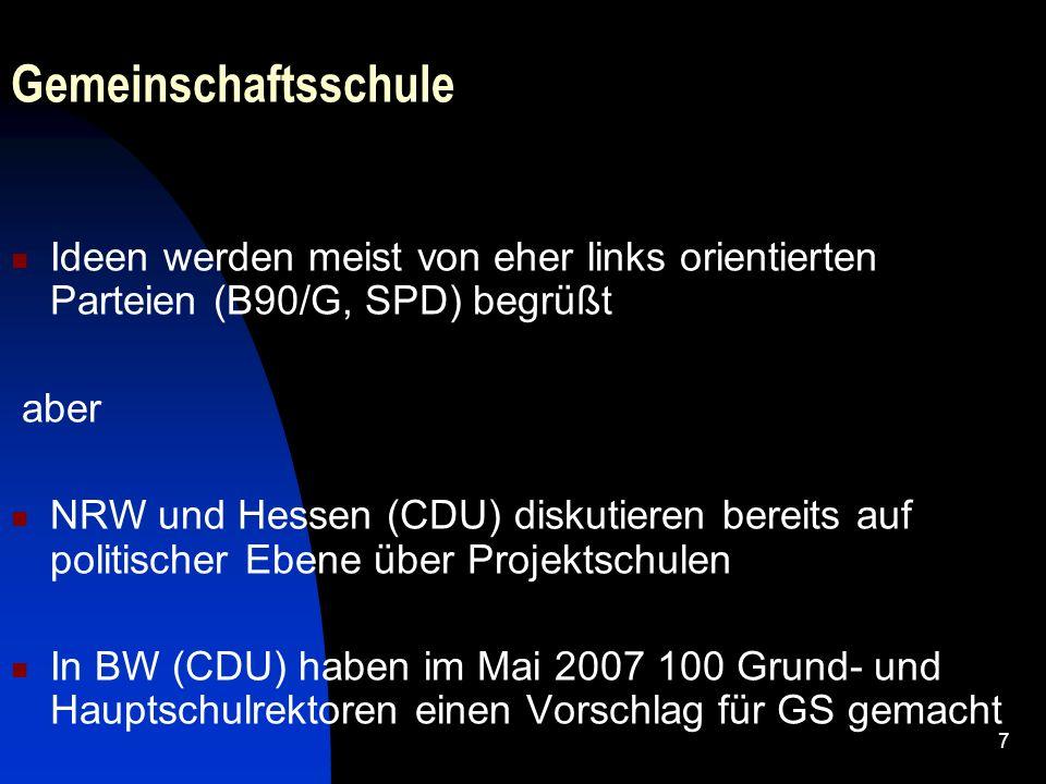 7 Gemeinschaftsschule Ideen werden meist von eher links orientierten Parteien (B90/G, SPD) begrüßt aber NRW und Hessen (CDU) diskutieren bereits auf p
