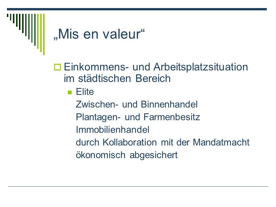Mis en valeur Einkommens- und Arbeitsplatzsituation im städtischen Bereich Elite Zwischen- und Binnenhandel Plantagen- und Farmenbesitz Immobilienhand