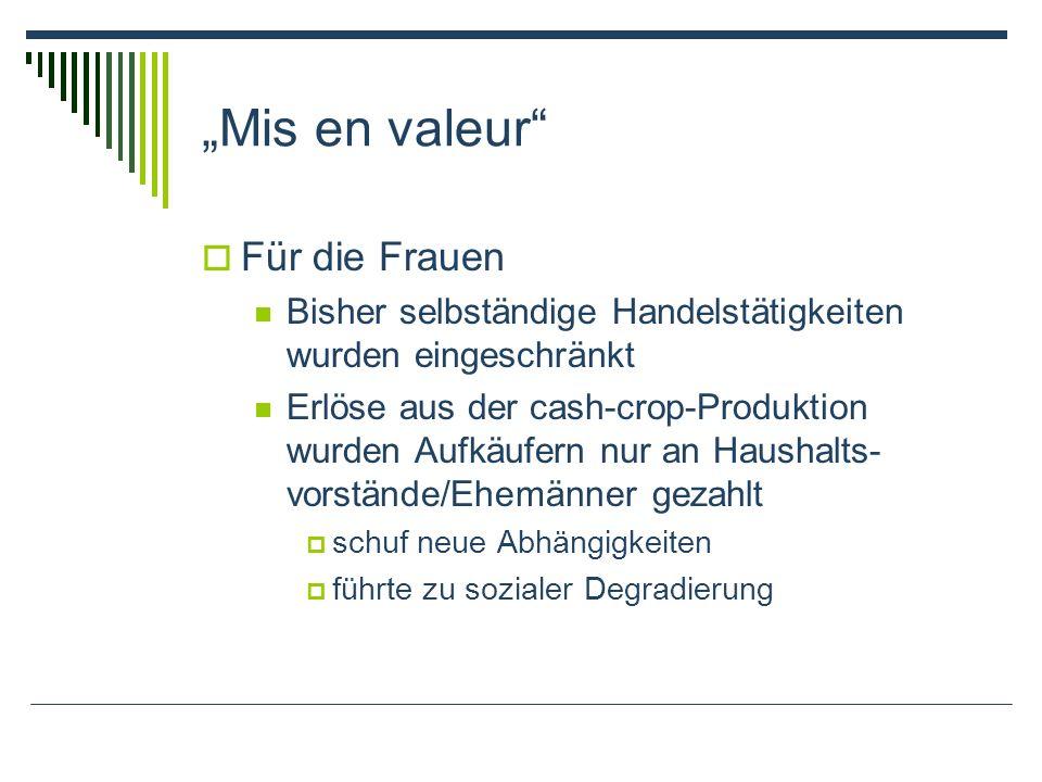 Mis en valeur Für die Frauen Bisher selbständige Handelstätigkeiten wurden eingeschränkt Erlöse aus der cash-crop-Produktion wurden Aufkäufern nur an