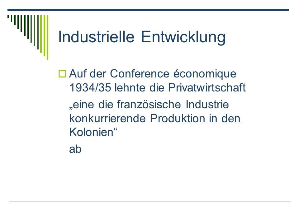 Industrielle Entwicklung Auf der Conference économique 1934/35 lehnte die Privatwirtschaft eine die französische Industrie konkurrierende Produktion i