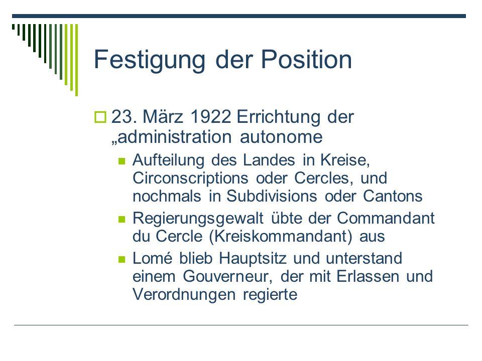 Festigung der Position 23. März 1922 Errichtung der administration autonome Aufteilung des Landes in Kreise, Circonscriptions oder Cercles, und nochma