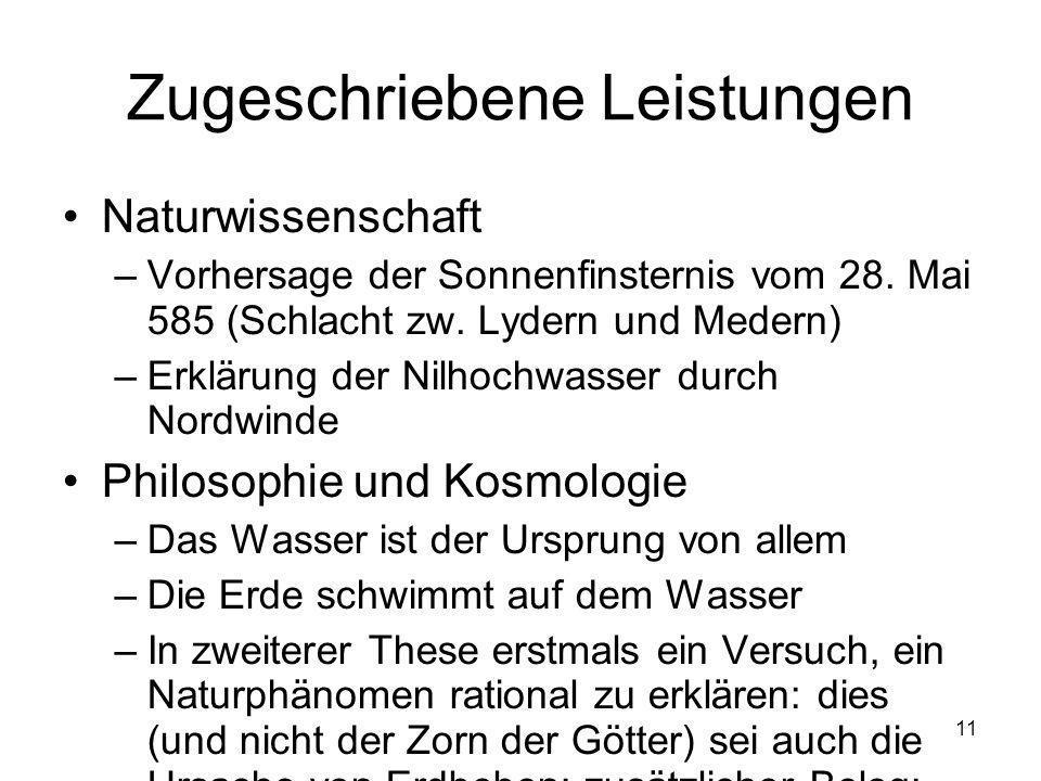 11 Zugeschriebene Leistungen Naturwissenschaft –Vorhersage der Sonnenfinsternis vom 28.