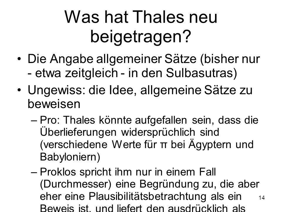 14 Was hat Thales neu beigetragen.