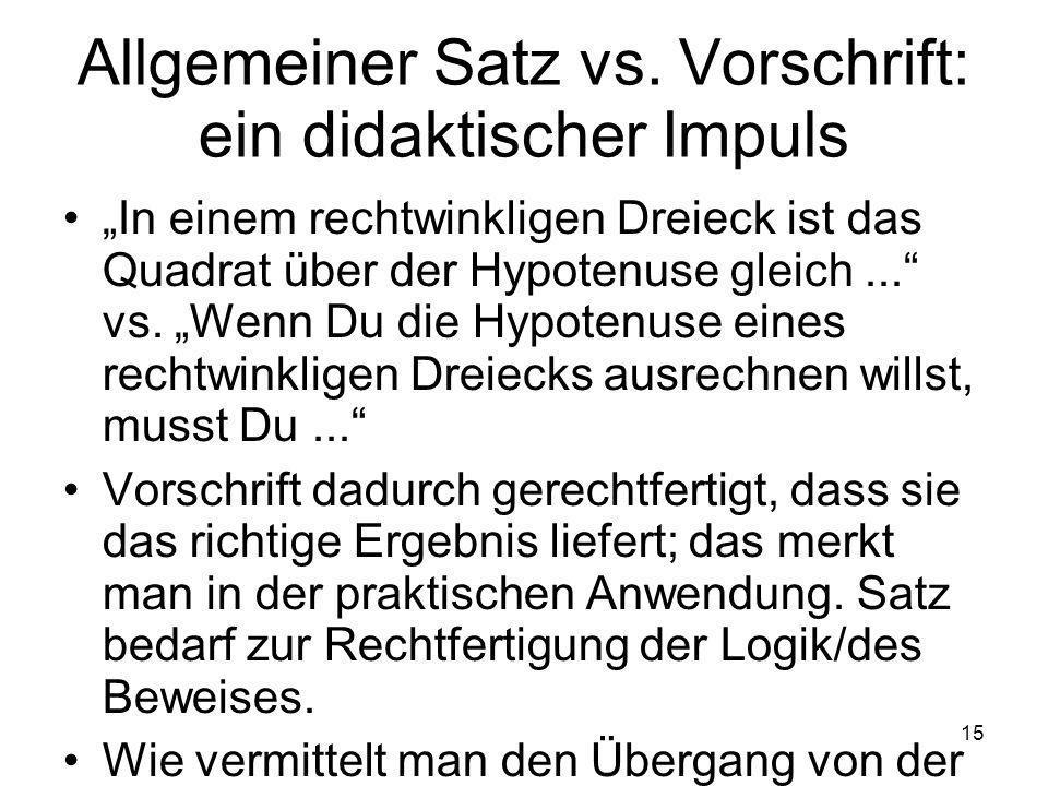15 Allgemeiner Satz vs.
