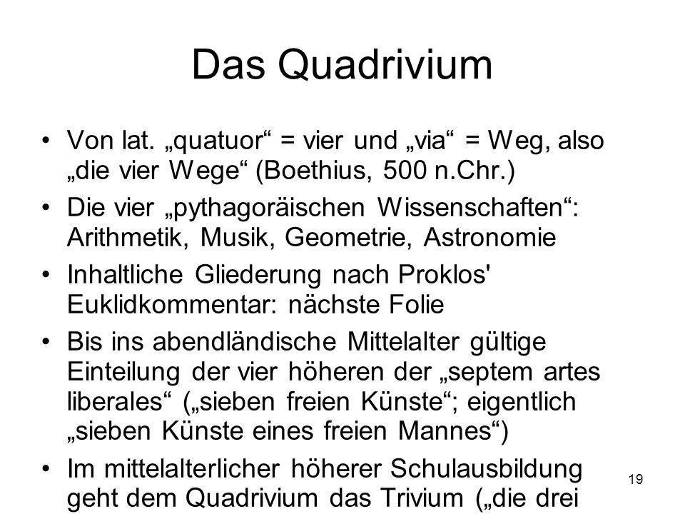 19 Das Quadrivium Von lat.