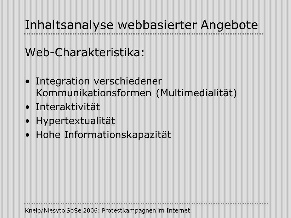 Kneip/Niesyto SoSe 2006: Protestkampagnen im Internet Inhaltsanalyse webbasierter Angebote Web-Charakteristika: Integration verschiedener Kommunikationsformen (Multimedialität) Interaktivität Hypertextualität Hohe Informationskapazität