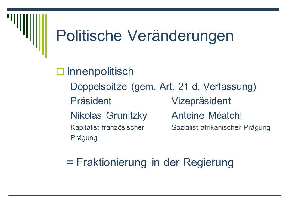 Politische Veränderungen Innenpolitisch Doppelspitze (gem.