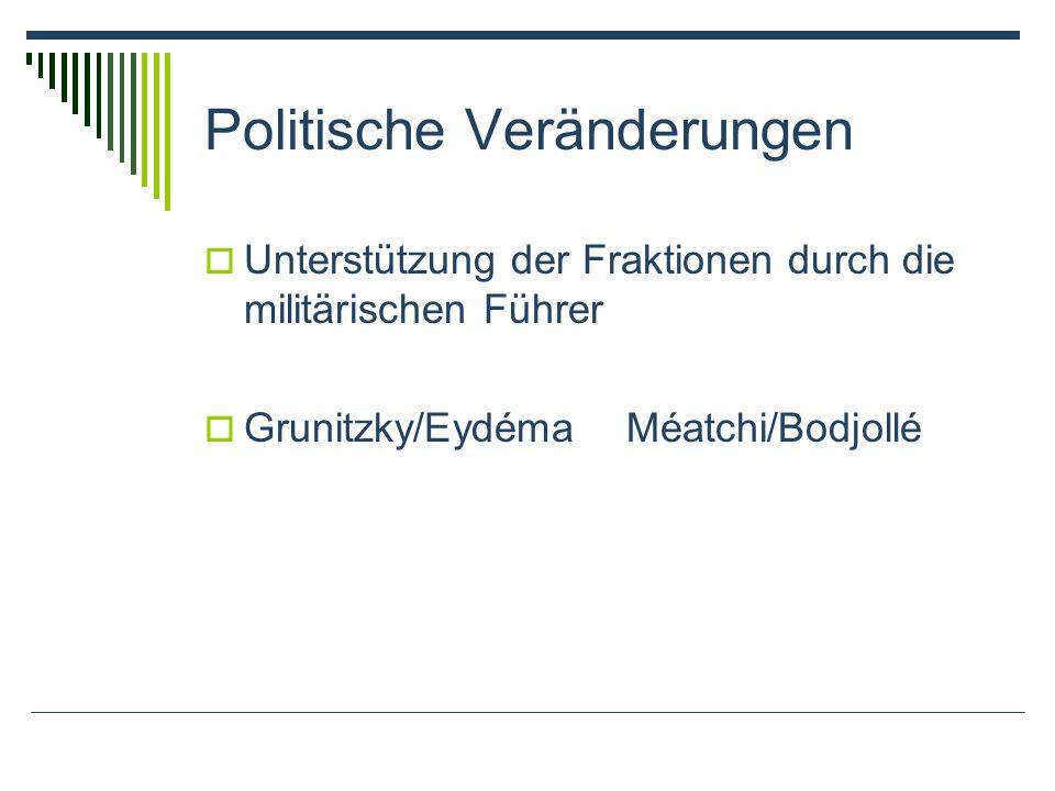 Politische Veränderungen Unterstützung der Fraktionen durch die militärischen Führer Grunitzky/EydémaMéatchi/Bodjollé
