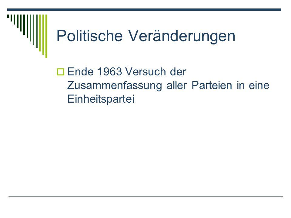 Politische Veränderungen Ende 1963 Versuch der Zusammenfassung aller Parteien in eine Einheitspartei