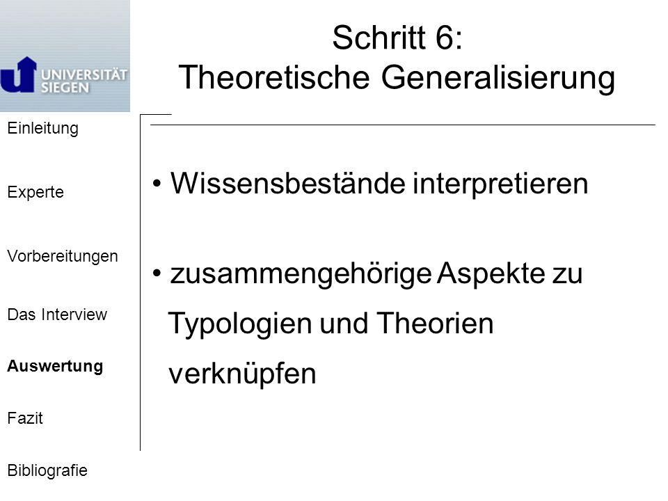 Einleitung Experte Vorbereitungen Das Interview Auswertung Fazit Bibliografie Schritt 6: Theoretische Generalisierung Wissensbestände interpretieren zusammengehörige Aspekte zu Typologien und Theorien verknüpfen