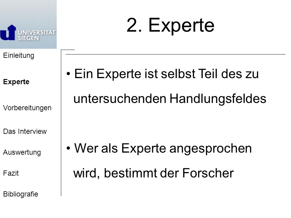 Einleitung Experte Vorbereitungen Das Interview Auswertung Fazit Bibliografie 2.