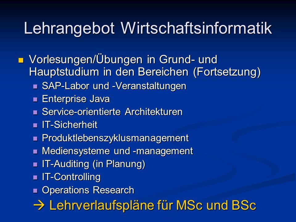 Lehrangebot Wirtschaftsinformatik Vorlesungen/Übungen in Grund- und Hauptstudium in den Bereichen (Fortsetzung) Vorlesungen/Übungen in Grund- und Haup