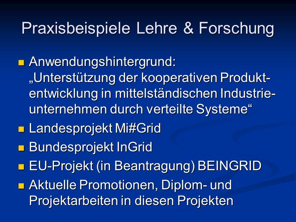 Praxisbeispiele Lehre & Forschung Anwendungshintergrund: Unterstützung der kooperativen Produkt- entwicklung in mittelständischen Industrie- unternehm