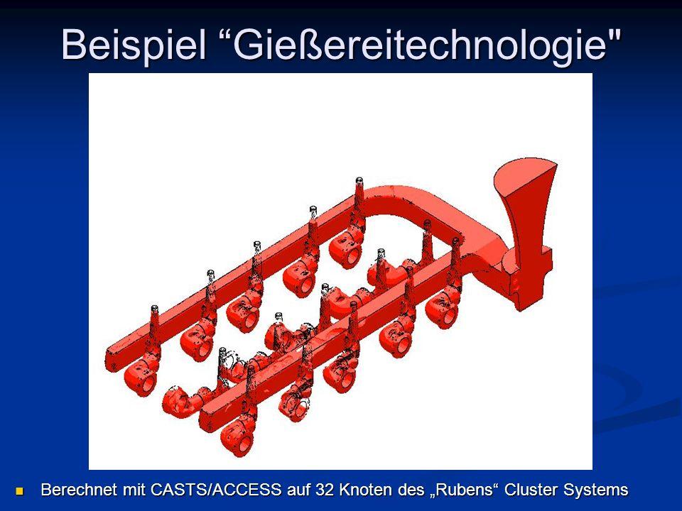 Berechnet mit CASTS/ACCESS auf 32 Knoten des Rubens Cluster Systems Berechnet mit CASTS/ACCESS auf 32 Knoten des Rubens Cluster Systems Beispiel Gieße