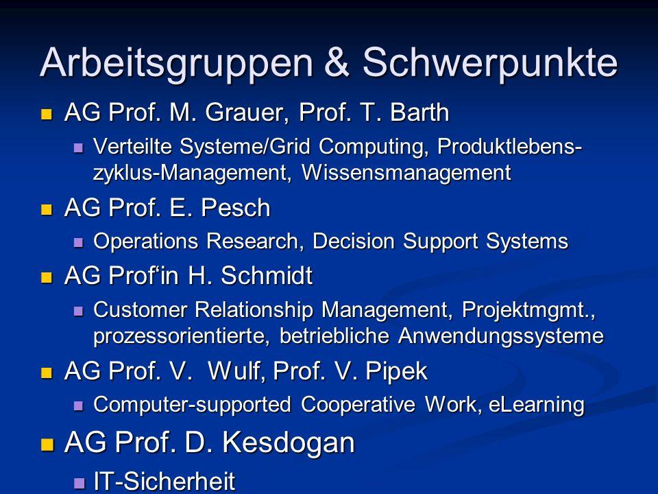 Arbeitsgruppen & Schwerpunkte AG Prof. M. Grauer, Prof. T. Barth AG Prof. M. Grauer, Prof. T. Barth Verteilte Systeme/Grid Computing, Produktlebens- z