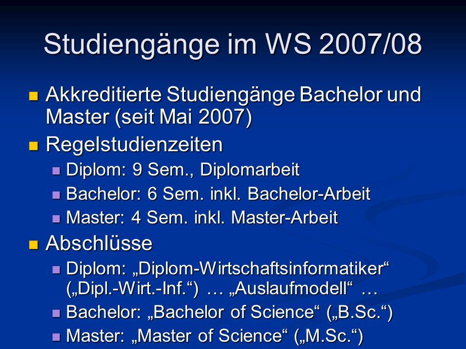 Studiengänge im WS 2007/08 Akkreditierte Studiengänge Bachelor und Master (seit Mai 2007) Akkreditierte Studiengänge Bachelor und Master (seit Mai 200