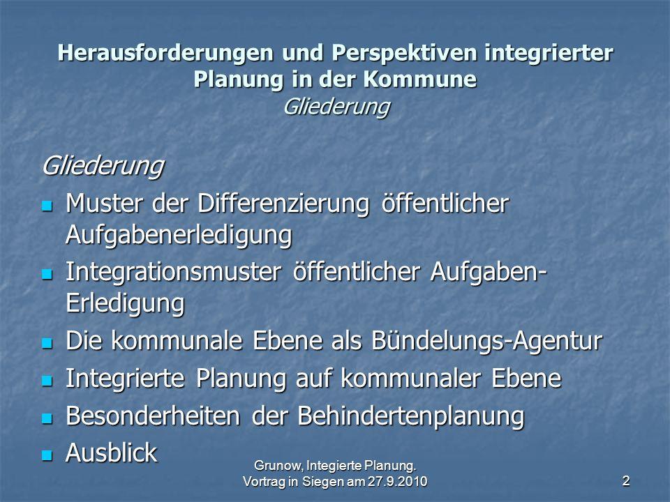Grunow, Integierte Planung. Vortrag in Siegen am 27.9.20102 Herausforderungen und Perspektiven integrierter Planung in der Kommune Gliederung Gliederu