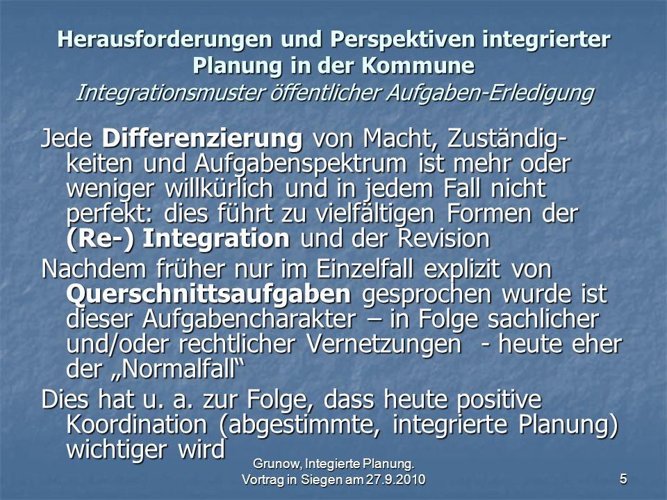 Grunow, Integierte Planung. Vortrag in Siegen am 27.9.20105 Herausforderungen und Perspektiven integrierter Planung in der Kommune Integrationsmuster